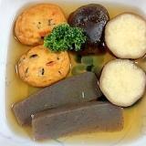 さつま芋、こんにゃく、白身魚揚げ、椎茸の煮物