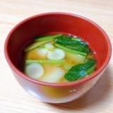 じゃがいもと小松菜とねぎの味噌汁