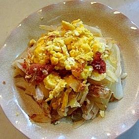 同時にできる玉ねぎの炒め物と炒り卵