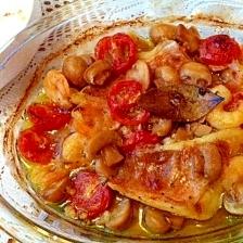 赤魚とえびとマッシュルームのアヒージョ