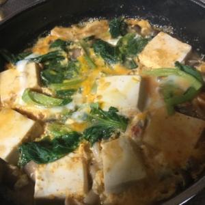 豆腐と小松菜のピリ辛卵とじ