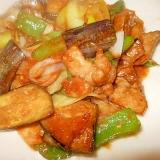 長茄子とピーマン、豚肉、ねぎの甘味噌炒め