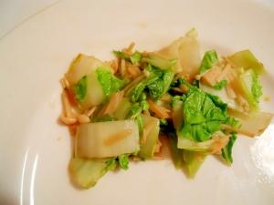 焼と鳥のたれで☆山東菜と榎の炒め物