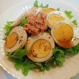 ❤わさび菜と煮卵とツナの青じそドレサラダ❤