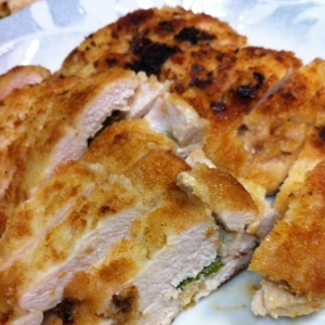 鶏の梅しそパン粉焼き