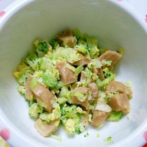 離乳食☆肉だんごとキャベツとブロッコリーの卵とじ