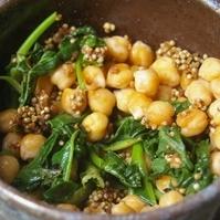 ひよこ豆と菜の花とえごまの味噌炒め