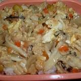 ボリューム八宝菜・ツナとキノコをプラスして。