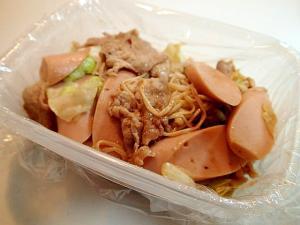 豚肉と魚肉ソーセージと野菜の焼肉のたれ炒め