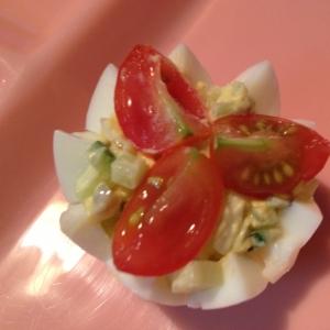 お弁当に☆プチトマトときゅうりの卵カップ