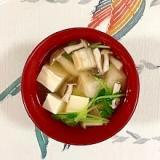 豆苗、塩とうふ、ブナシメジ、焼き麩のお味噌汁