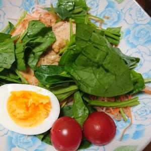 チキンソテーと野菜たっぷりサラダ