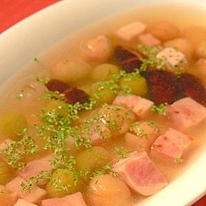 厚切りベーコンとミックスビーンズのスープ