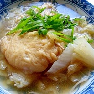 お餅巾着の白菜スープ