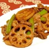 蓮根と豚肉とスナップエンドウのバルサミコ酢炒め