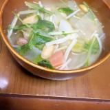 厚切りベーコンと根菜のスープ
