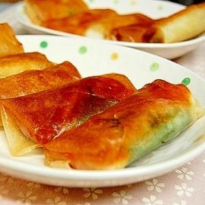お餅&チーズ&青じそ&ハムの春巻き。