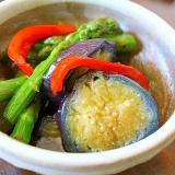 茄子とアスパラの揚げびたし*冷菜