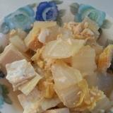ほっとするおかず。高野豆腐と白菜の卵とじ