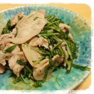 水菜と豚こまの炒め物☆にんにく風味