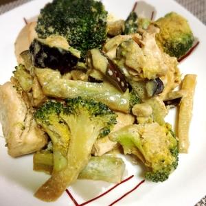 鶏胸肉と茄子ブロッコリーの味噌マヨ炒め