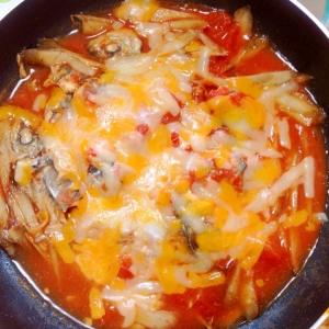 豆アジとゴボウのトマトチーズ煮