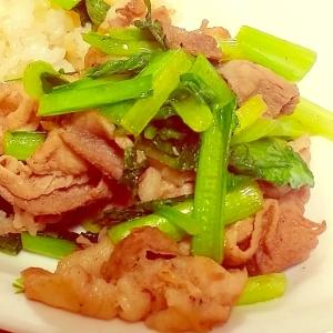 味付け簡単!豚肉と小松菜の炒め物☆