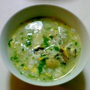 牡蠣とセロリの卵雑炊