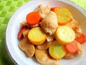 鶏むね肉とズッキー二の照り焼き♪柚子こしょう風味