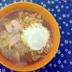 魚肉ソーセージと白菜とたまごの味噌ラーメン