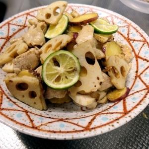 柚子胡椒バターで仕上げる☆鶏肉と根菜ソテー