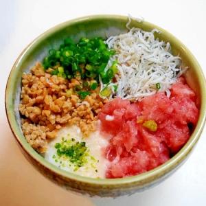 ネバネバ+さっぱり!納豆マグロ長芋しらす寿司丼