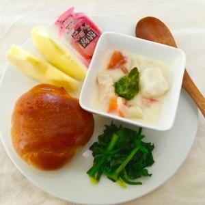 芽キャベツ里芋シチューとほうれん草ソテー朝ごはん♡