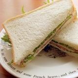 5分❤水菜&チーズ&ビアハム2枚のサンドイッチ♪