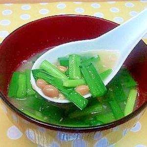 納豆とニラのみそ汁