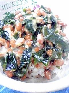 納豆の食べ方-わかめ&おろし生姜♪