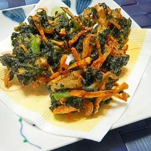 紫蘇ジュースで絞った紫蘇を使って!!野菜のかき揚げ