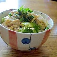 節約レシピ☆薄揚げとキャベツのジュワっと卵とじ丼
