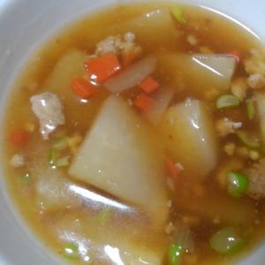 かぶと鶏そぼろのとろ~りスープ