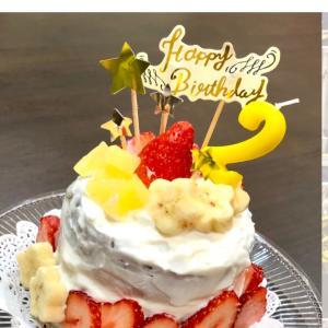 ケーキもトッパーも手作り!砂糖、生クリーム不使用!