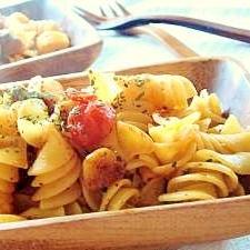 残ったミニトマトで*トマトとチキンのあっさりパスタ