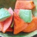 アボカドと旬の柿でサラダ