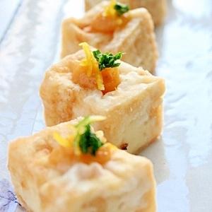 揚げ豆腐のゆず味噌かけ