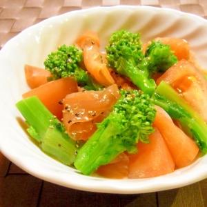 菜の花とスモークサーモンとトマトのサラダ