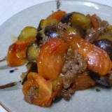 牛肉とナスビでトマト炒め