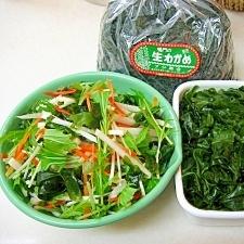 *水菜と大根のわかめサラダ*