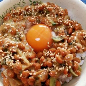 納豆の食べ方-生玉子&ザーサイ胡瓜漬物♪