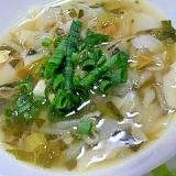 冷蔵庫の残った野菜でワンタンスープ