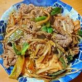 牛肉と厚揚げ豆腐とピーマンともやしのこってり炒め