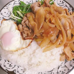 豚肉炒めと目玉焼きと水菜のプレート